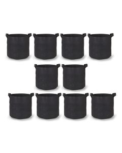 247Garden 3-Gallon Aeration Fabric Pot/Plant Grow Bag w/Handles (Black 9H x 10D) 10-Pack w/Free Shipping in the USA