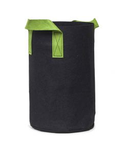 247Garden 7-Gallon Tall Aeration Fabric Pot/Tree Grow Bag (Black w/Green Handles 17H x 11D)