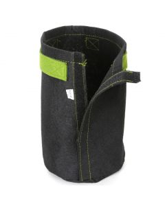 247Garden 1-Gallon Tall Transplanter Fabric Pot/Tree Grow Bag (Black w/Velcro Closure & Short Green Handles 9H x 6D)