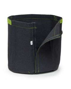 247Garden 2-Gallon Transplanter Fabric Pot w/Velcro Closure & Short Green Handles (Black 7.5H x 8.5D)