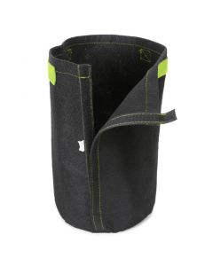 247Garden 2-Gallon Tall Transplanter Fabric Pot/Tree Grow Bag (Black w/Velcro Closure & Short Green Handles 12H x 7D)