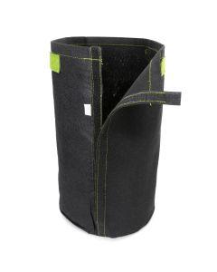 247Garden 4-Gallon Tall Transplanter Fabric Pot/Tree Grow Bag (Black w/Velcro Closure & Short Green Handles 14.5H x 9D)