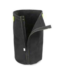 247Garden 5-Gallon Tall Transplanter Fabric Pot/Tree Grow Bag (Black w/Velcro Closure & Short Green Handles 15H x 10D)