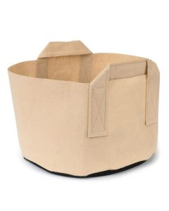 247Garden 5-Gallon Short Aeration Fabric Pot/Vegetable Grow Bag w/Handles (Tan 8H x 13.5D)