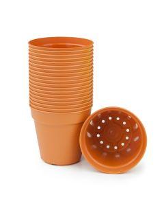 """247Garden 3"""" Round Plastic Nursery Flower Pots (Cotta, 20PCS)"""