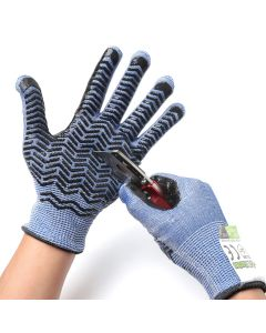 247Garden Level-D Cut-Resistant Stainless Steel-Wire Gardening Gloves w/Grips (Large Pair)