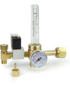 247Garden CO2 Regulator with Solenoid Valve 110V, Forged Brass Body, Nylon Washer, 4000 PSI Pressure Gauge, 0.5-15 SCFH Compatible for Indoor Gardening, Hydroponics, Beer Brewing